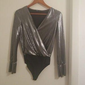 silver metal womens bodysuit